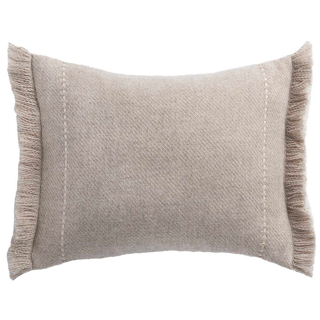 Cashmere wool twill cushion with fringe, taupe, de Le Cuona