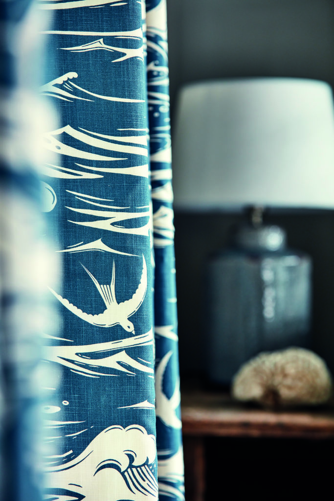 'Swallows at Sea' fabric, navy, Sanderson