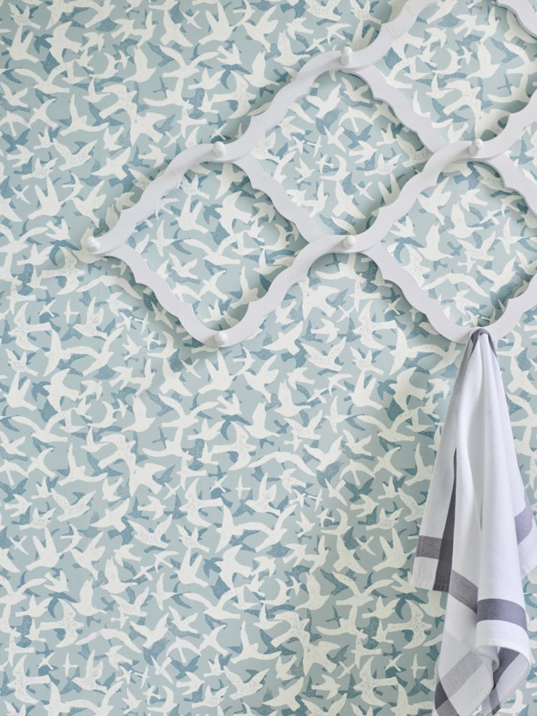 'Windsong' wallcovering, blue Jane Churchill at Colefax and Fowler