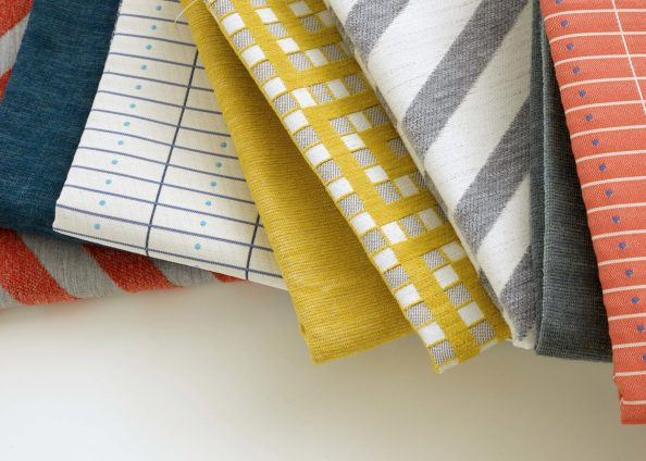 'Dynamic Expansion','Enjoy The Shade','Gingham Maze' and 'Drawers' fabrics, Liz Collins and Pollack, available from Altfield