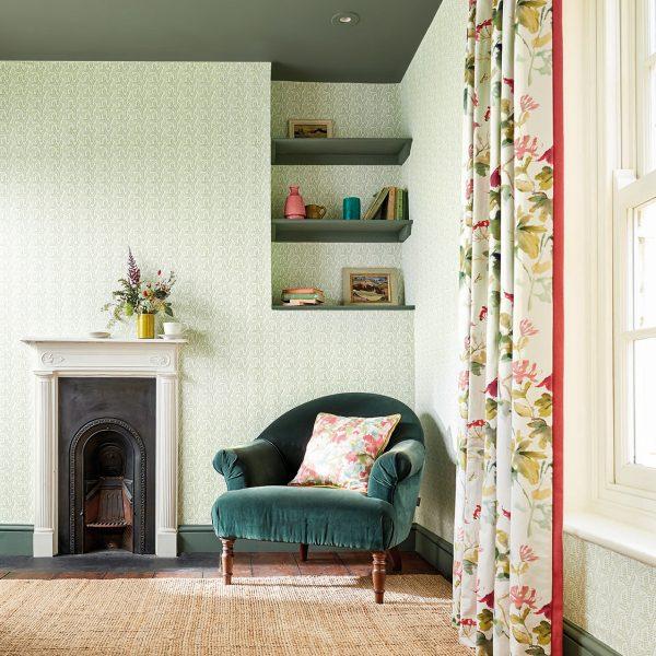 'Honey Flowers' fabric and 'Yarton' wallcovering, Sanderson